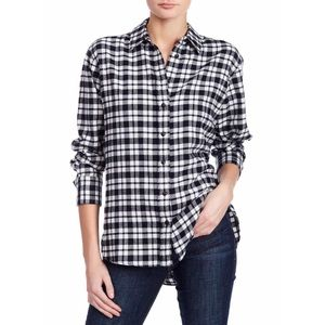 Madewell Plaid Oversized Black Flannel Shirt